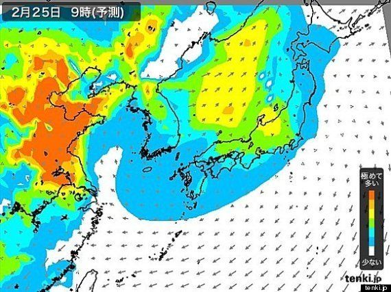 PM2.5、25日に日本で広く飛来 九州から東北にかけて注意が必要 (福冨