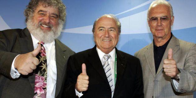 FRANKFURT/MAIN, Germany: FIFA President Joseph Blatter (C), Chairman of the Organising Committee for...