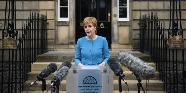 Scotland's First Minister and Leader of the Scottish National Party (SNP), Nicola Sturgeon, addresses...
