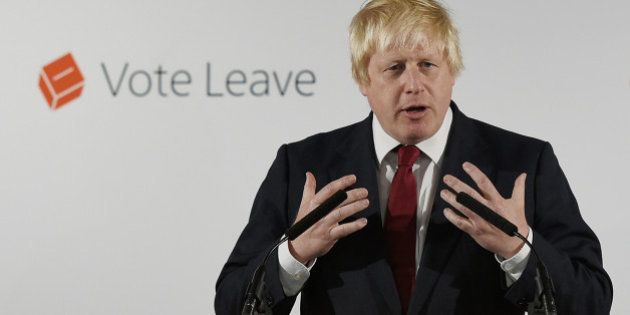 Former London Mayor and 'Vote Leave' campaigner Boris Johnson speaks during a press conference in central...