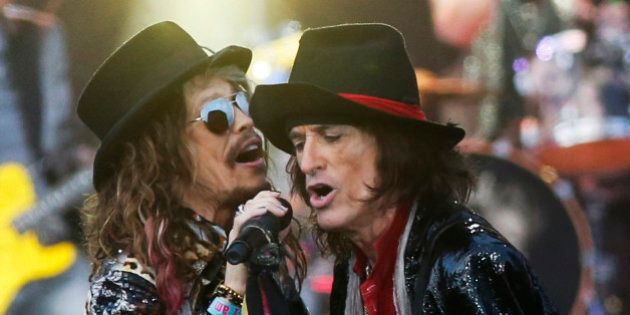 Steven Tyler, left, and Joe Perry of US band Aerosmith perform at the Calling festival in London, Saturday,...