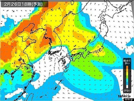 PM2.5 26日夜にかけて濃度は高めの予想 (中川裕美子)