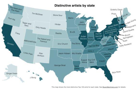 アメリカ50州でよく聴かれるミュージシャンをデータでマッピング