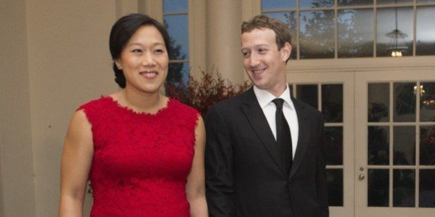 Mark Zuckerberg, Chairman and CEO of Facebook and his wife, Priscilla Chan, arrive for a State Dinner...
