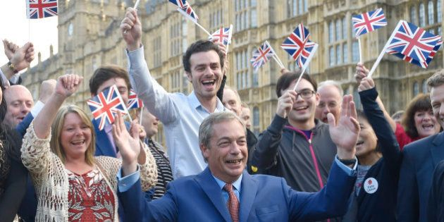 Nigel Farage, the leader of the United Kingdom Independence Party (UKIP), makes a statement after Britain...