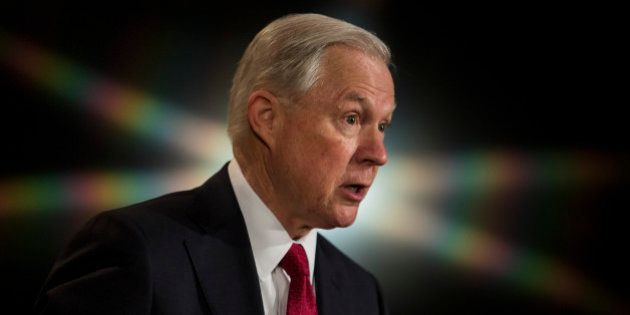 WASHINGTON, D.C. - FEBRUARY 28: U.S. Attorney General Jeff Sessions delivers remarks at the Justice Department's...
