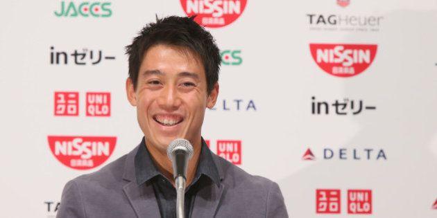 NARITA, JAPAN - SEPTEMBER 13: US Open 2014 runner-up Kei Nishikori speaks during the press conference...