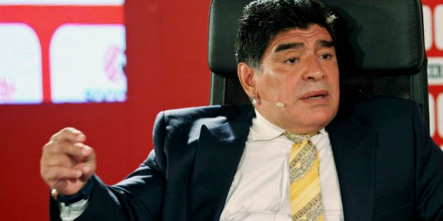 Argentina football legend Diego Maradona speaks on the second day of the SoccerEx Asian Forum conference...