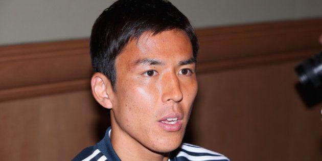 CLEARWATER, FL - MAY 30: Makoto Hasebe of Japan speaks to the press during a media session at the Hyatt...