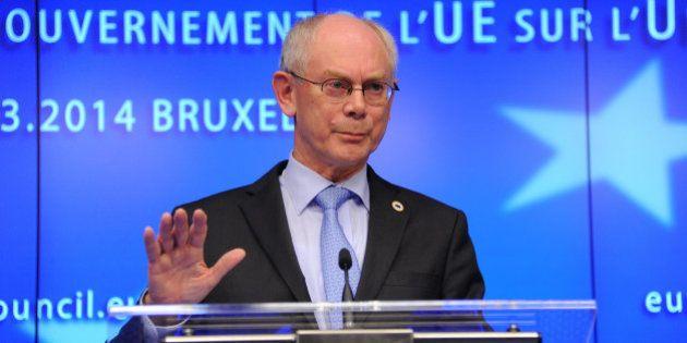 BRUSSELS, BELGIUM - MARCH 6: European Council President Herman Van Rompuy gives a speech after an emergency...