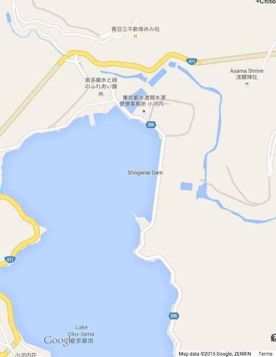奥多摩湖の小河内ダム、Google