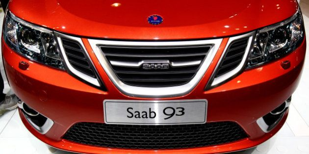 The front of a Saab Automobile AB 9-3 convertible is seen at New York International Auto Show (NYIAS)...