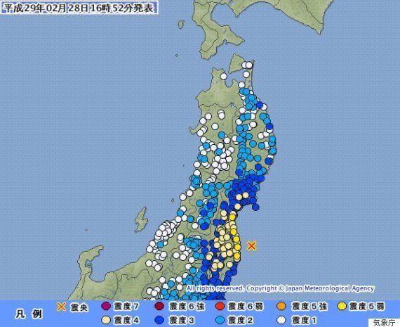 【地震情報】福島、宮城で震度5弱