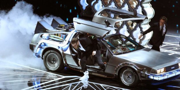 89th Academy Awards - Oscars Awards Show - Seth Rogan and Michael J. Fox arrive onstage in a DeLorean...