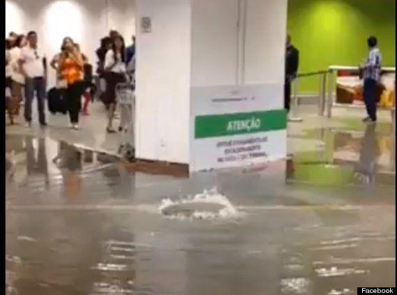 ワールドカップ1週間前:ブラジル首都の空港で床上浸水