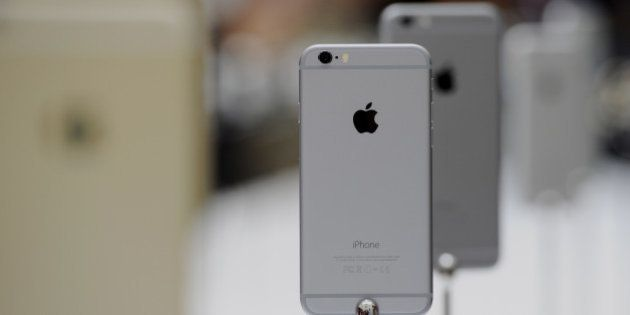 The new Apple Inc. iPhone 6 is displayed after a product announcement at Flint Center in Cupertino, California,...