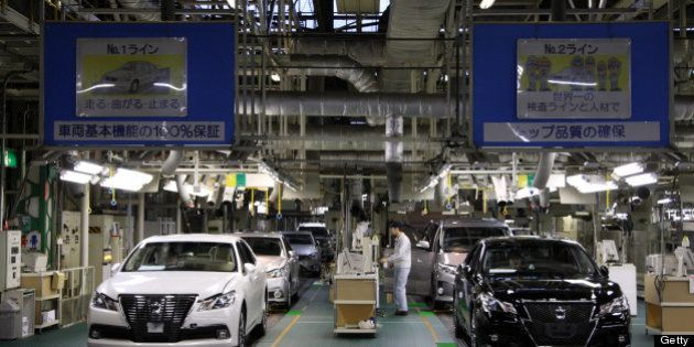 Toyota Motor Corp. Crown sedans undergo inspection at the company's Motomachi plant in Toyota City, Aichi...
