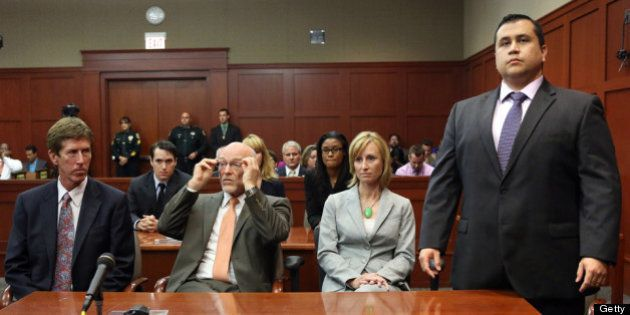 SANFORD, FL - JULY 13: George Zimmerman (R) stands as the jury arrives to deliver the verdict, on the...