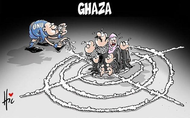 アラブの漫画家が見たガザ 狂気の中のユーモア【風刺画・画像集】