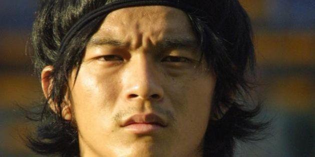 LENS, FRANCE: Portrait of Japanese defender Naoki Matsuda taken 04 October 2001 at Bollaert stadium in...