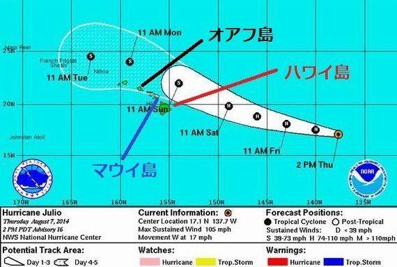 ハワイに接近中、ハリケーン「フリオ」現地情報