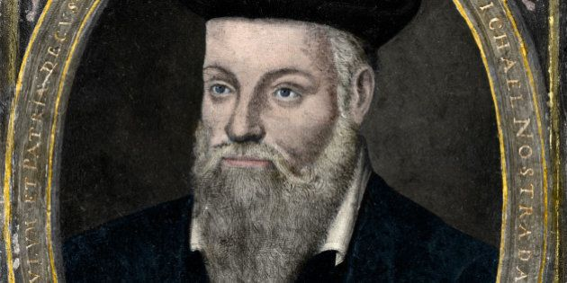 Michel De Nostred. Portrait of Michel de Nostredame 1503-1566, usually latinised to Nostradamus, French...