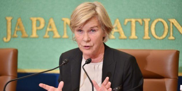 United Nations Special Rapporteur Maud de Boer-Buquicchio speaks during a press briefing at the Japan...