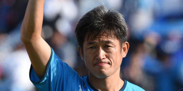 YOKOHAMA, JAPAN - OCTOBER 18: (EDITORIAL USE ONLY) Kazuyoshi Miura of Yokohama FC looks on prior to the...