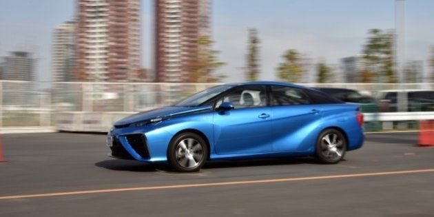This picture taken on November 17, 2014 shows Japanese auto giant Toyota Motor's fuel cell vehicle 'Mirai',...