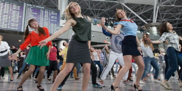 MOSCOW, RUSSIA. FEBRUARY 25, 2016. People participate in a dance flash mob at Moscow's Vnukovo International...