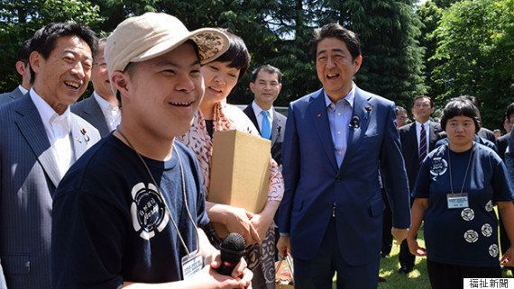 首相と障害者が交流 東京五輪に向け文化芸術活動をアピール