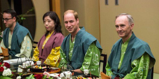 KORIYAMA, JAPAN - FEBRUARY 28: Prince William, Duke of Cambridge (2R) smiles before he eats dinner at...