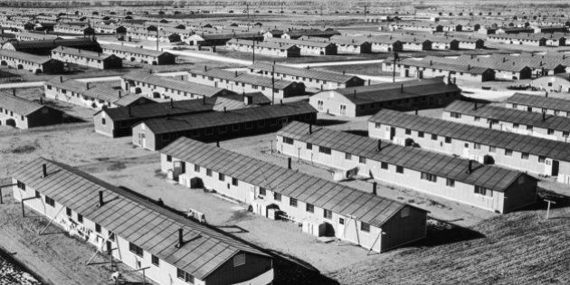 circa 1943: Aerial view of a Japanese-American relocation center in Amache, Colorado, during World War...