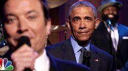 オバマ大統領がジャズセッション スローなバラードに合わせて政治を歌う(動画)