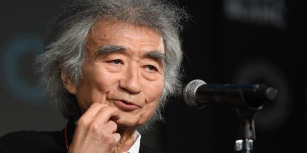 Japanese conductor Seiji Ozawa delivers a speech during the awarding ceremony of the 23th Montblanc de...