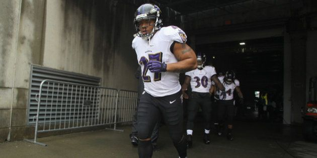 CINCINNATI, OH - DECEMBER 29: Ray Rice #27 of the Baltimore Ravens takes the field for the game against...