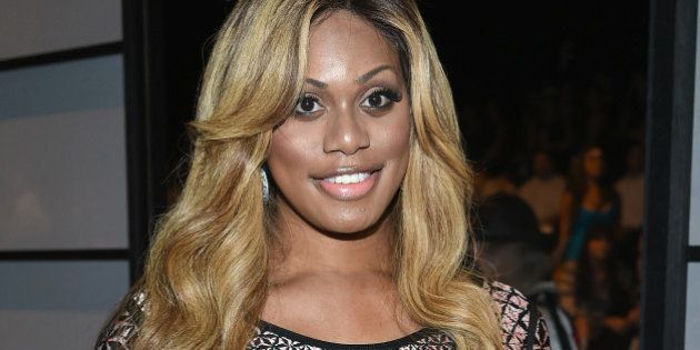 NEW YORK, NY - SEPTEMBER 06: Laverne Cox attends Herve Leger By Max Azria during Mercedes-Benz Fashion...