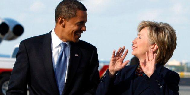 US Democratic presidential nominee Senator Barack Obama (D-IL) and Senator Hillary Clinton (D-NY) step...