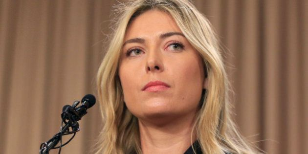 FILE - This is a Monday, March 7, 2016 file photo showing tennis star Maria Sharapova speakings about...