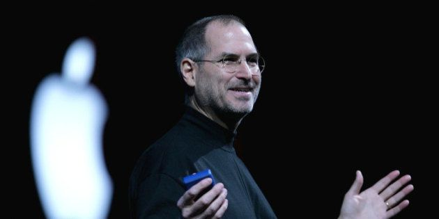 SAN FRANCISCO - JANUARY 11: Apple CEO Steve Jobs delivers a keynote address at the 2005 Macworld Expo...