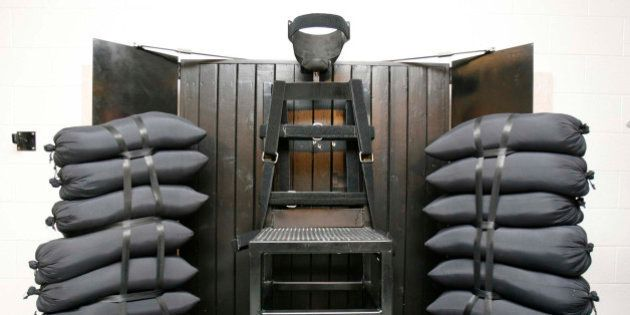 FILE - This June 18, 2010, file photo shows the firing squad execution chamber at the Utah State Prison...