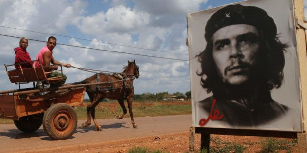 GABRIEL, CUBA - FEBRUARY 28: A poster of Revolutionary hero Che Guevara is seen next to the road a day...