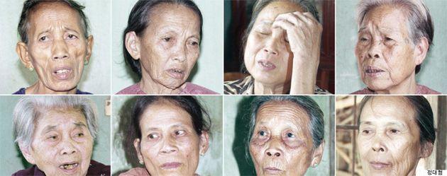 2015年3月、「蝶基金」の支援でベトナムを訪問した挺対協調査団に、自分の性暴力被害を証言したベトナムの女性たち。