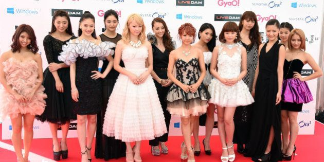 URAYASU, JAPAN - JUNE 14: Members of E-girls arrive for the red carpet of MTV Video Music Awards Japan...