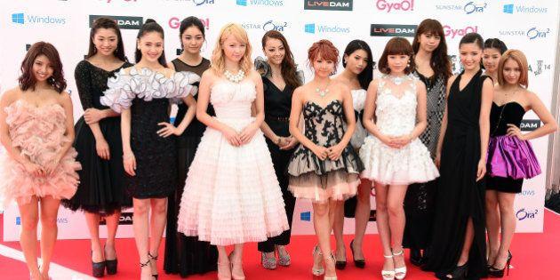 URAYASU, JAPAN - JUNE 14: Members of E-girls arrive for the red carpet of MTV Video Music Awards Japan...