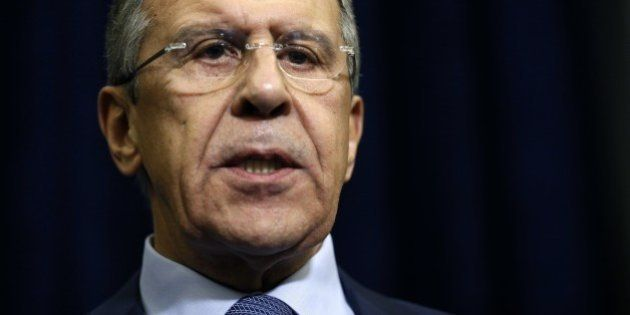 Russian Foreign Minister Sergei Lavrov speaks to the media at the Bocharov Ruchei state residence in...