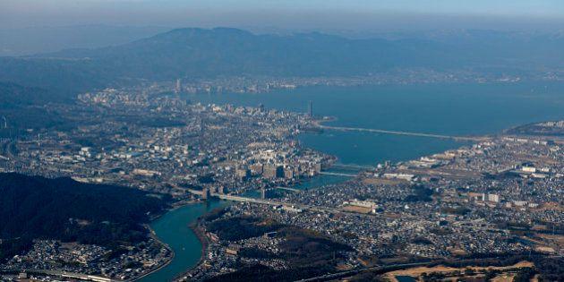 Japan, Kinki Region, Shiga Prefecture, Aerial view of Mount Hiei and Otsu City. (Photo by: JTB Photo/UIG...