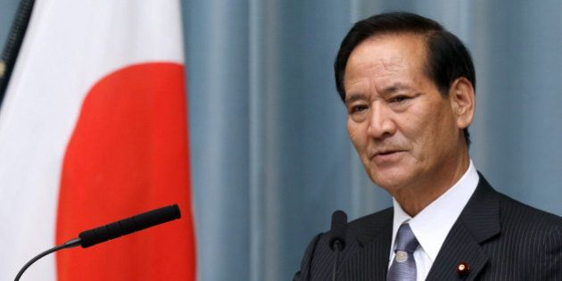 Koya Nishikawa, Japan's newly appointed agriculture, forestry and fisheries minister, speaks during a...
