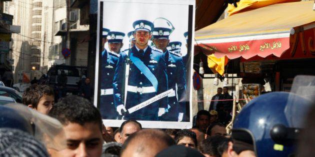 AMMAN, JORDAN - DECEMBER 26: People demonstrate against the ISIS capturing of Jordanian pilot Muath al...