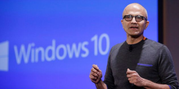 Microsoft CEO Satya Nadella speaks at an event demonstrating new features of its flagship operating system...